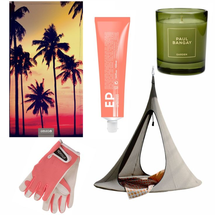 COMPAGNIE DE PROVENCE Hand Cream Grapefruit  BUBEL NANOFIBRE TOWEL - Palm Beach ANNABEL TRENDS  Ladies' Gloves - Coral PAUL BANGAY Oakwood Garden Candle CACOON  Songo Hanging Tent - Earth