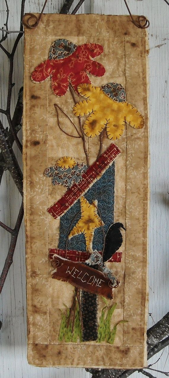 Primitive Sunflower Birdhouse Quilt by kimberleeannkreation ... there's a part of me that will always love primitive.