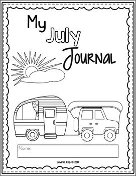 July Writing Journal Prompts. Cover page.