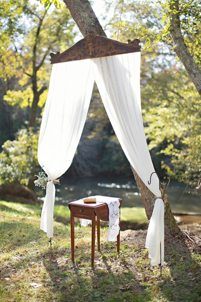 If We Had An Outdoor Wedding I Would Love These Curtains And The Bathing Tub