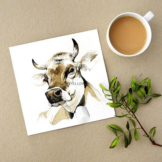 Watercolour Cow & Coffee https://www.etsy.com/de/listing/556024050/kuh-kunstdruck-moderne-aquarell