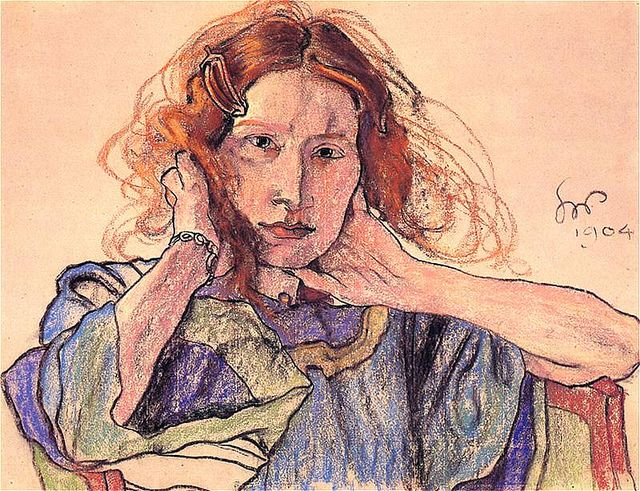 Stanislaw Wyspianski, (1869-1907) - 1904 Portrait of Ireny Solskiej (National Museum, Poznan, Poland)