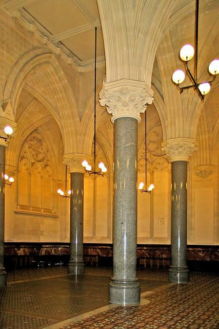 The Old Stock Exchange building interior (now called Cathedral Room) 388 Collins Street Melbourne. Features include ornate Gothic ribbing, marble walls and patterned tiled floor, it is another superb 19th century interior – and the fantastical spire was reconstructed as part of the 1990 restoration by Allom Lovell & Associates.