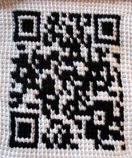 Crocheted QR code! #crochet