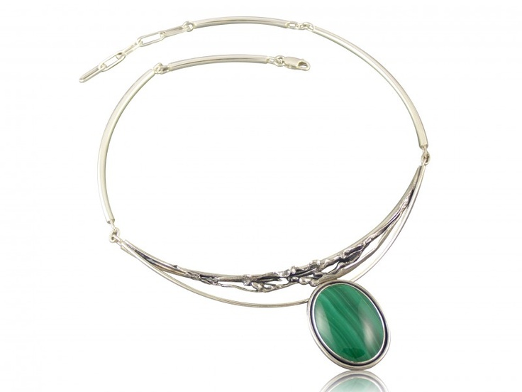 Silver handmade necklace with malachite