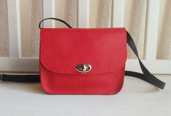 Bright Red Small Leather Crossbody Bag - Every Day Bag - Small Crossbody Bag - Leather Crossbody for Women