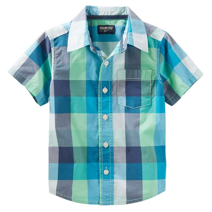 Toddler Boy OshKosh B'gosh® Buffalo Check Short-Sleeved Button-Front Shirt, Size: 4T, Ovrfl Oth