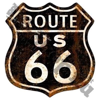 """35,00 DKK. Klistermærke ~ Vintage ~ Route 66 skilt. Nu kan du også cruise ned ad Route 66 med denne flotte sticker i retro og patineret look!  Er formet som et klassisk amerikansk vejskilt med teksten """"Route US 66"""".  Klistermærket er i farven mørk brun med hvid skrift.  Er lavet i holdbart og UV-coated vinyl, og kan derfor bruges både udendørs og indendørs. Kan klistres på alle rene overflader af metal, glas og plastik. Pynter på både bil, campingvogn og køleskab.  Måler 10 x 10 cm."""