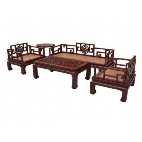 Salon vietnamien en bois d'orme avec 2 fauteuils, 1 table basse, 1 sofa 4 places et 1 guéridon. Origine : VIETNAM. Frais ecotax inclus. Rêve d'Asie. Suisse.