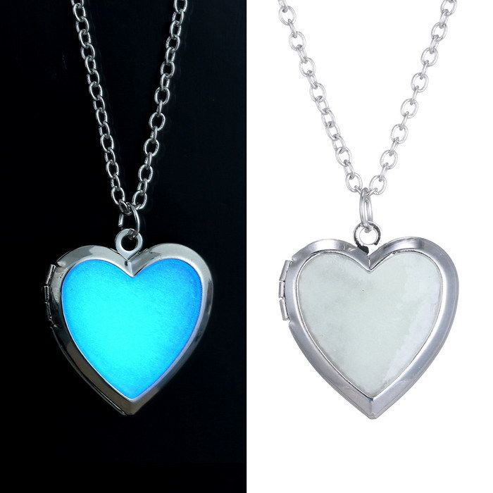 vintage necklace Glow in the Dark Gifts hollow Necklace for women Glowing Necklace Jewelry Glow heart Pendant Charms