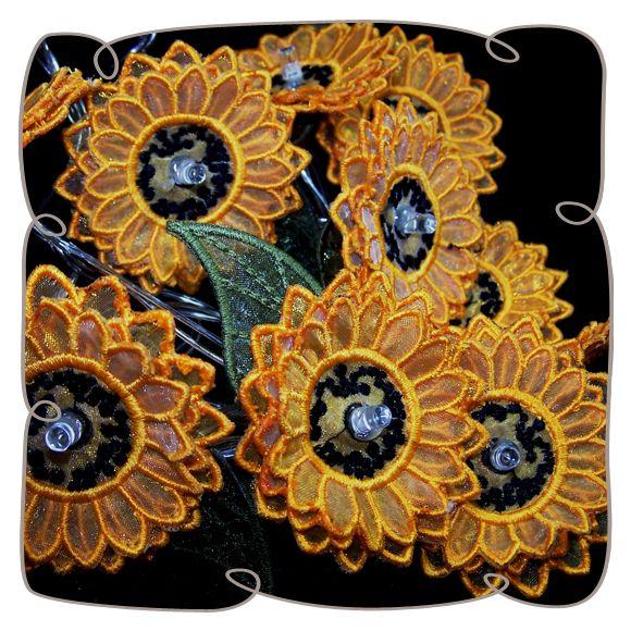 Sunflower String Lights: Embroidershoppe