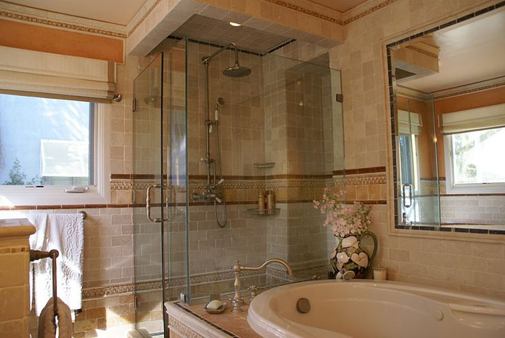spanish style bathrooms | spanish bathroom bathroom remodel with jacuzzi tub bidet and tumbled ...