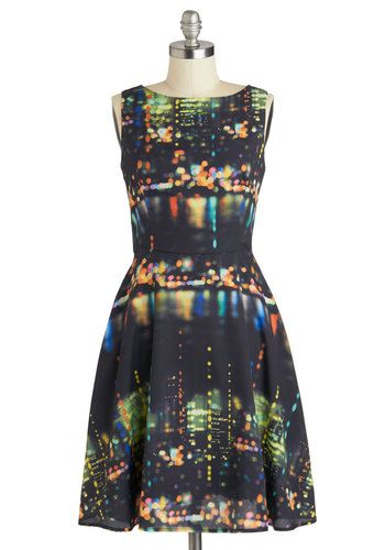Saturday Night Thrive Dress - Long, Black, Multi, Print, Party, A-line, Sleeveless, Boat, Pockets, Statement, Urban, Exclusives, Press Place...