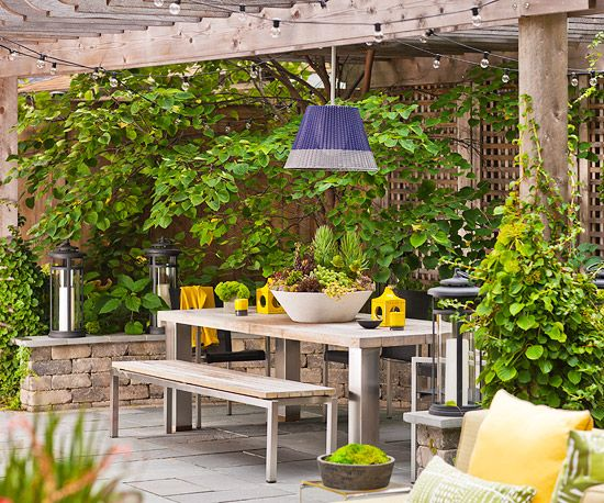 A charming patio filled with amenities can be a warm weather getaway, right in your backyard. Create a patio you can enjoy with these tips.