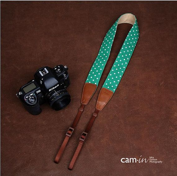 Camin  White  lovely dot in Green   Handmade by cameraleatherbelt, $28.00
