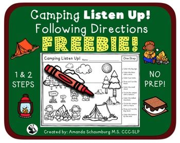 Listen Up! A camping themed following directions activityGreat for k-2ndThis activity has two scenes. The first scene is for following one step directions and the second scene is for two step directions. The therapist/parent/teacher will read prompts listed on the right side of the paper to the student(s).