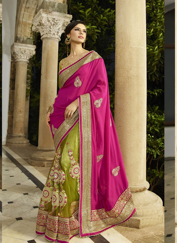 #Green & #Pink Colour #Net & #Georgette #Saree. Lovely #floral #embroidery and #exotic #colours come together to define this #beautiful #saree.  Contact to Buy : +91-9377111620