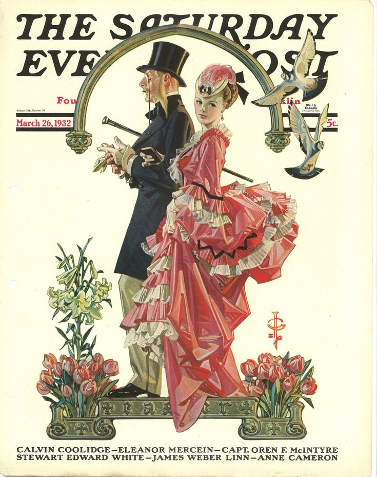 """Ad for The Saturday Evening Post, March 26 1932. 1930s painting """"An Afternoon Stroll"""" painted by JC Leyendecker. Victorian couple going for a walk."""