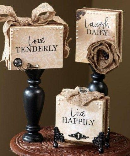 "Supplies Unfinished Wood Blocks Unfinished Wood Candlesticks Cream & Black Acrylic Paint Cream Patterned Paper ""Live, Laugh, ..."