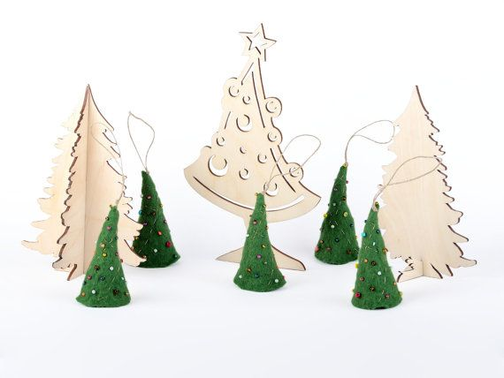 Christmas tree decor - set of hanging Xmas ornaments to decorate your home - holiday decorations - felted mini Christmas trees [H16]