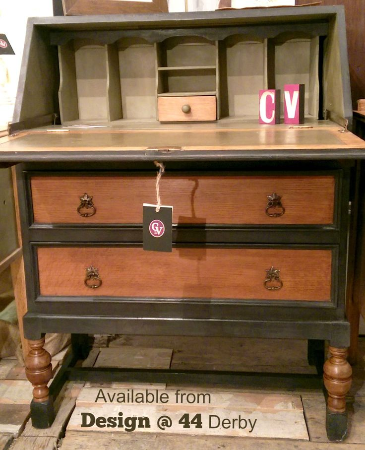 Fully restored Oak bureau, Painted and waxed inside top, drawers and sides, using #AnnieSloan products