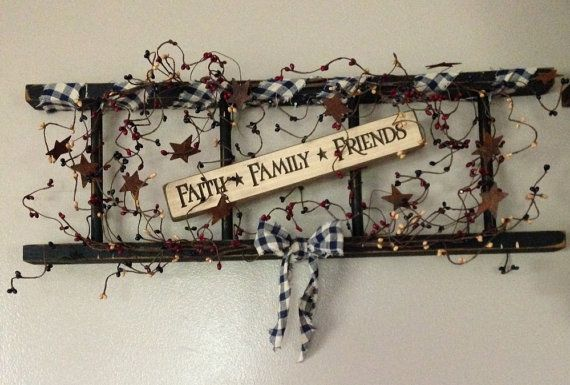 Primitive Ladder with Saying and Berries by FarmWivesCollections
