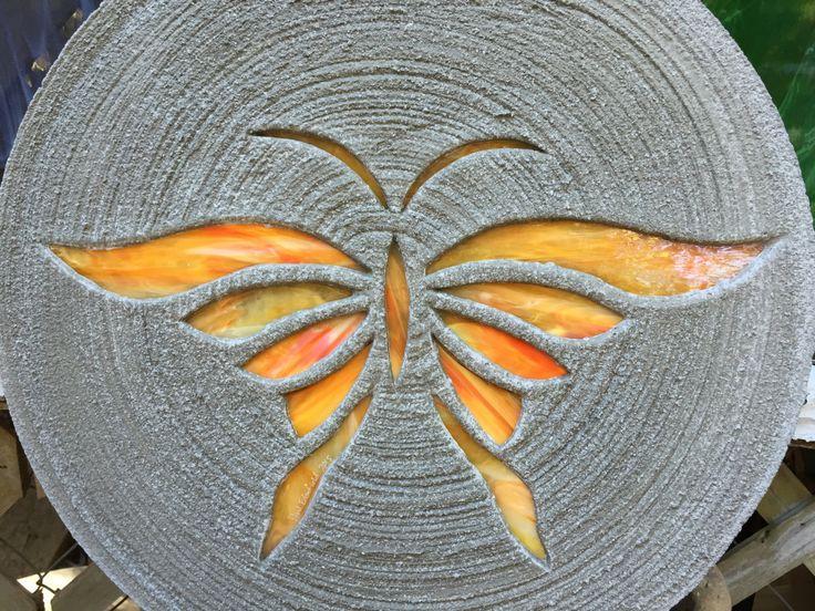 orange butterfly stepping stone big 18 inch diameter concrete stained glass mosaic for yard art - Orange Garden Decor