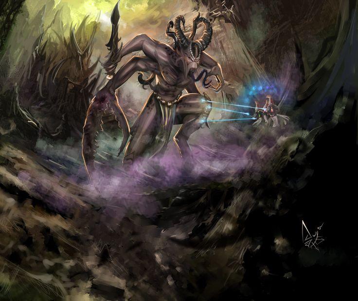 cave chaos daemon eldar keeper_of_secrets slaanesh slaanesh-goddess sword