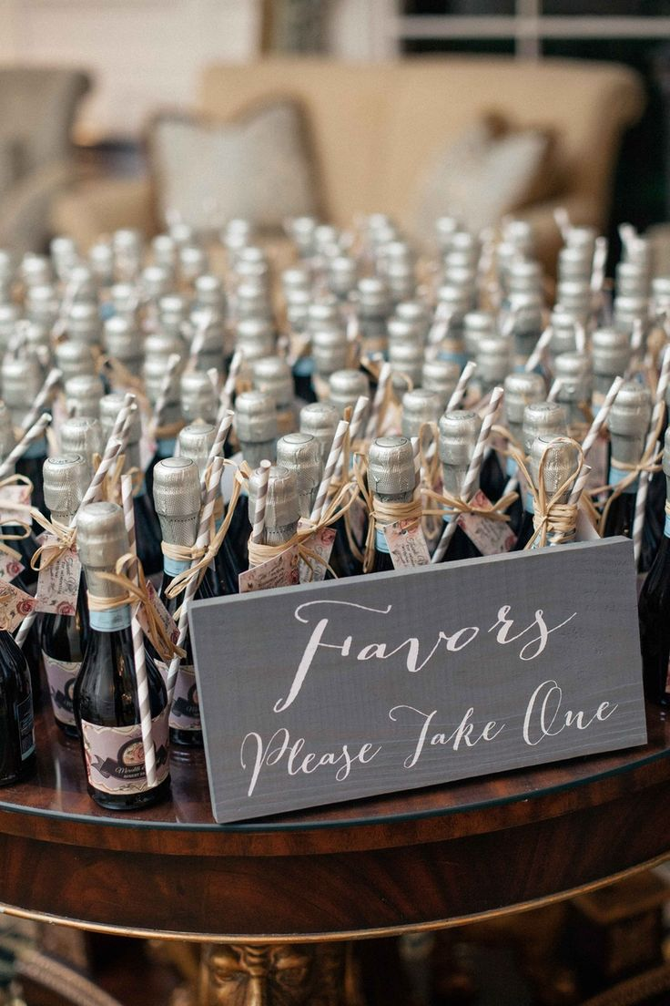 wedding thank you cards time limit%0A miniature bottles of prosecco with straws and  u    thank you u     notes as the  favors for couples wedding