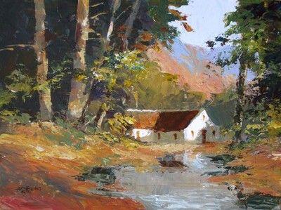 House By Stream In Woods - Tony De Freitas