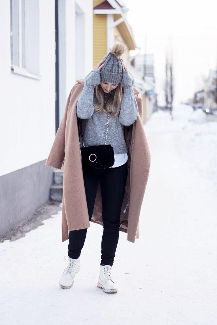 sandraemilia, outfit, fashion, ootd, grey, knit, beige coat, winter, style, beanie 4
