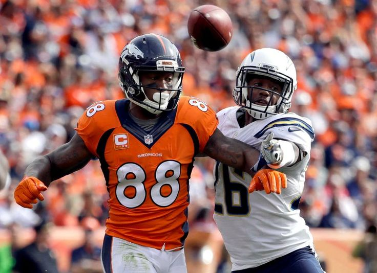 Chargers vs. Broncos:  October 30, 2016  -  27-19, Broncos  -     San Diego Chargers cornerback Casey Hayward (26) breaks up a pass intended for Denver Broncos wide receiver Demaryius Thomas (88) during the first half of an NFL football game, Sunday, Oct. 30, 2016, in Denver.
