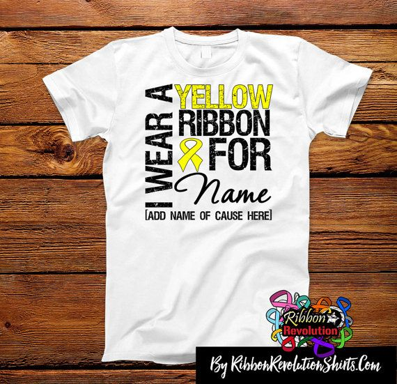 Personalize I Wear Yellow Ribbon Shirts For Endometriosis, Ewing Sarcoma and Spina Bifida Awareness