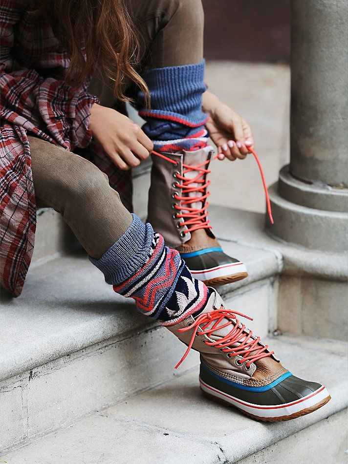 Like the different colored laces and accent colors in the boots ... paired with the socks.