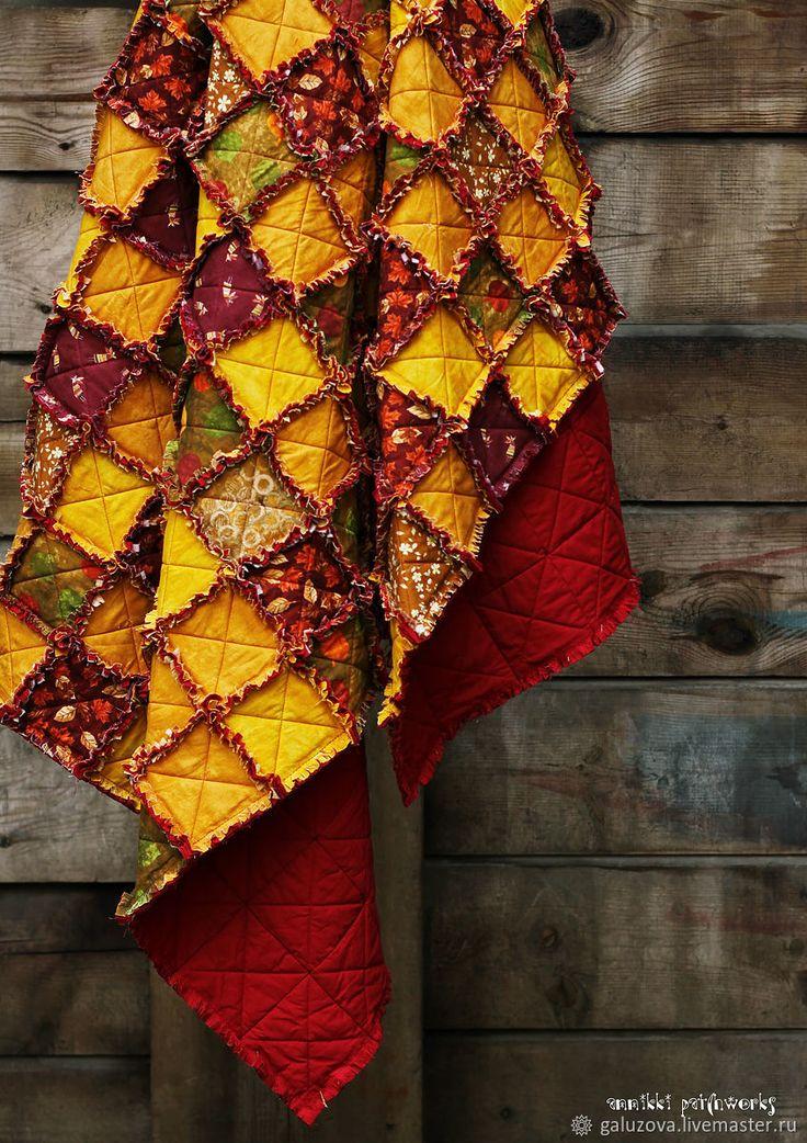 """Autumn Quilted Blanket    Лоскутный плед """"Времена года. Осень"""" - бордовый, золотистый, осень, осенний, плед, уютный"""