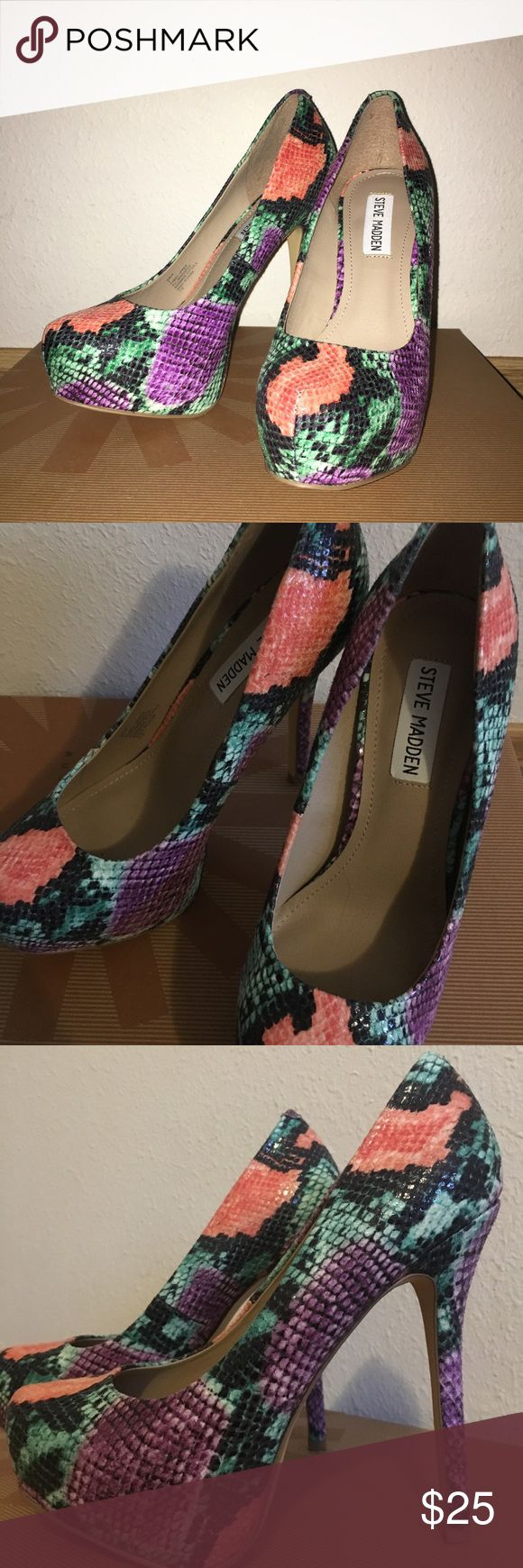 CLEARANCE!!! Steve Madden Snake Print Heels/Pumps Used only twice, these heels are super cute and make a statement. The design is a multi-snake print that's soft to the touch and the heels are 4 inches. In need of a new home. Steve Madden Shoes Heels