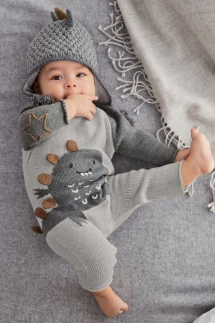 Buy Knitted Dino Romper (0-18mths) online today at Next: United States of America