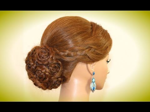 Wedding hairstyles for long hair. Bridal prom updo. Rose bun. - YouTube