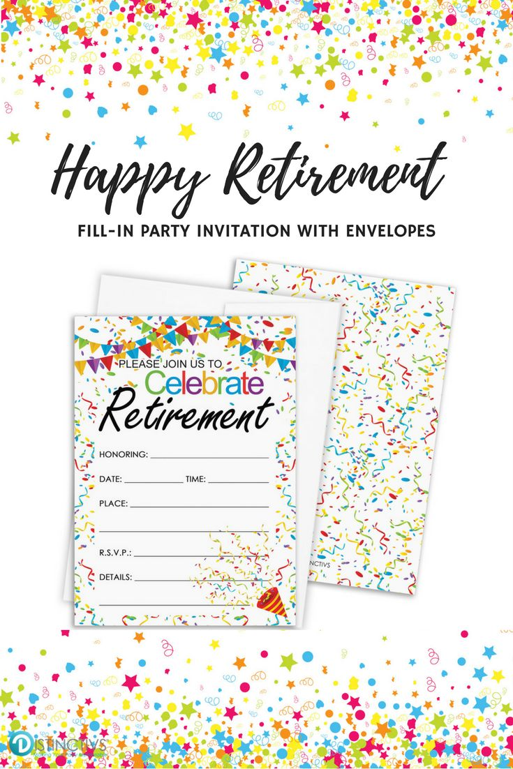 These Colorful Confetti Retirement Party Invitations with White Self-Sealing Envelopes will Get Guests Excited for Your Fun-Filled Retirement Celebration. #retirementparty #retirementinvitations