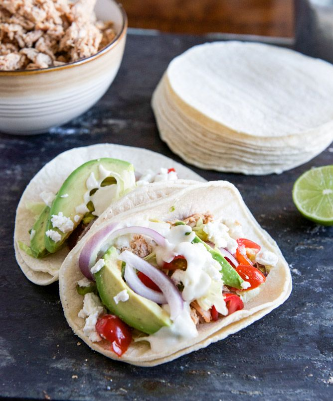 Smokey Roasted Chicken Tacos with Spicy Goat Cheese Queso | Recipe