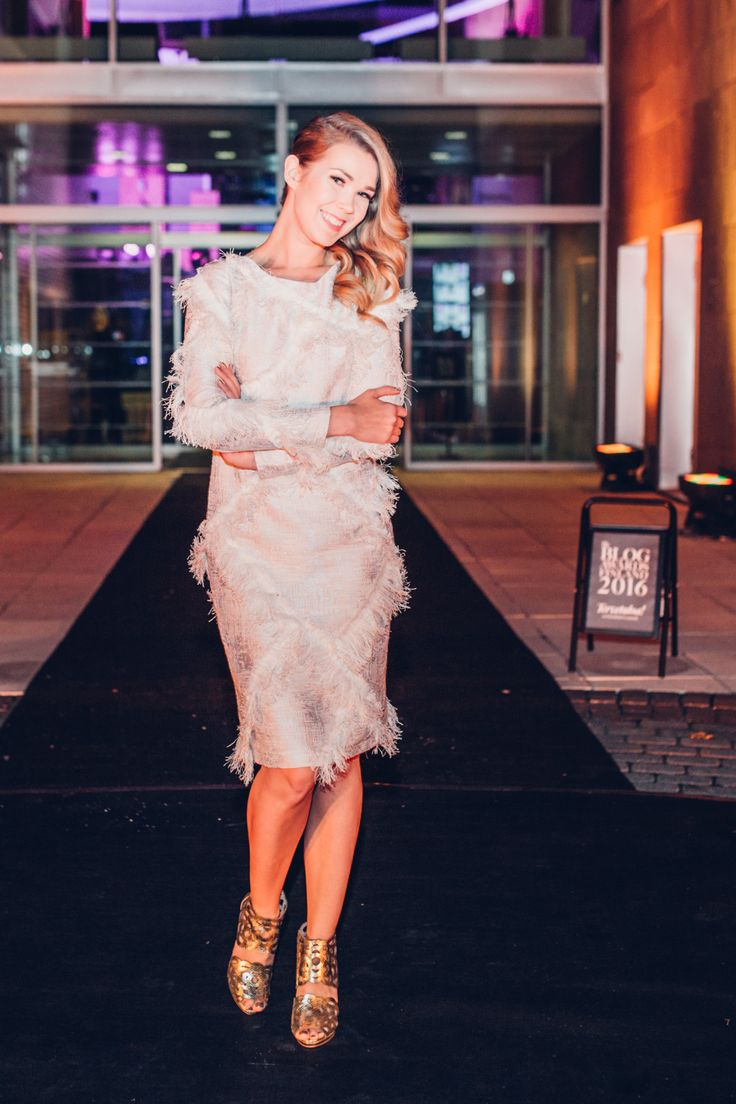 TV Presenter @tuijapehkonen looks breathtaking in our Inspire Gold stilettos at The Blog Awards Finland. Shop the link via bio.
