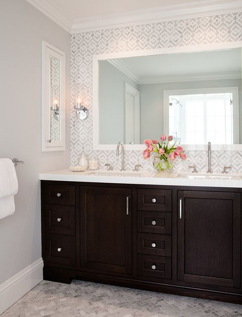Presidio Terrace | Inspiration for a beautiful transitional bathroom in San Francisco with recessed-panel cabinets, dark wood cabinets, white tile, stone tile, gray walls and marble floors.