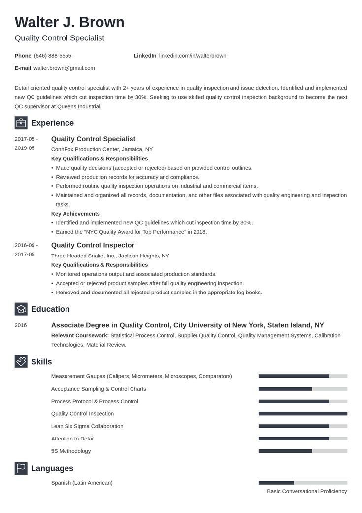 inspector quality control qc resume sample  best resume