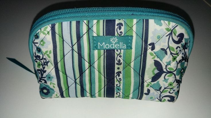 "6"" Modella Quilted MakeUp Bag Blue Green Floral Print Travel Case Toiletries Bag #Modella"
