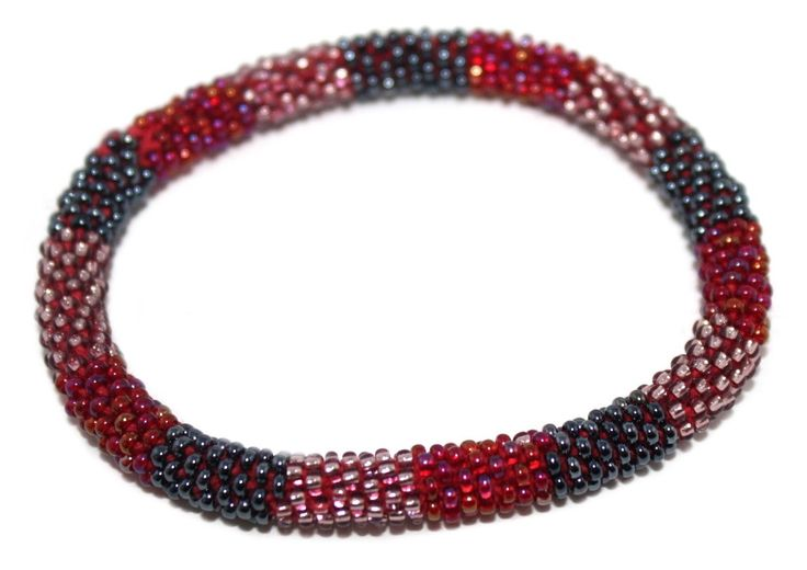 Nepal Bracelet, Roll On Bracelet, Glass bead bracelet, Tribal bracelet, Boho Bracelet Land and Sky