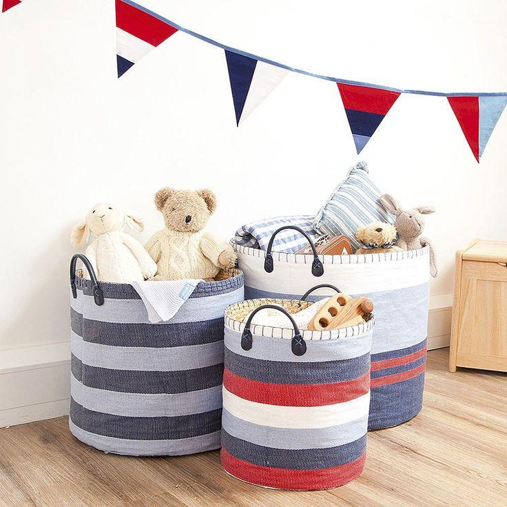 JoJo Set of Three Denim Blue Stripe Storage Bins. Stylish enough for any room in the house.