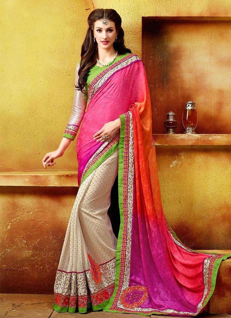 Febulous cream and pink georgette designer saree.  #6Yards #LatestSarees #Shades