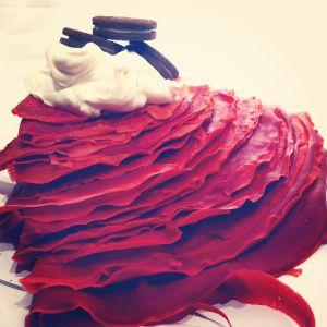 Red velvet crepe - Cream cheese and Oreo filling