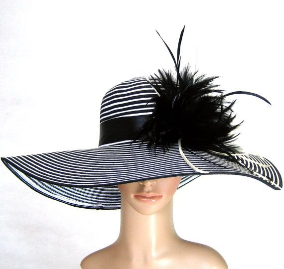 Derby Hat Dress Hat  Kentucky Derby Hat BLACK  WHITE Hat Wide Brim Womens Dress Bridal Wedding Tea Party Ascot Church. $59.97, via Etsy.