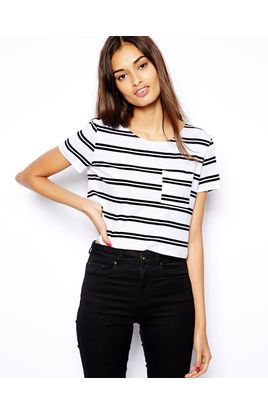 Glamorous Crop T-Shirt in Variegated Stripe   Stylista.dk
